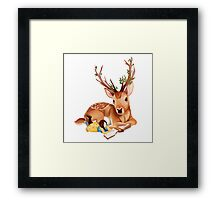 The Deer Rider is Taking the rest at the Deer's Side, Reading a Book. Framed Print