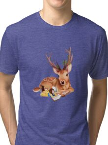 The Deer Rider is Taking the rest at the Deer's Side, Reading a Book. Tri-blend T-Shirt