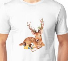 The Deer Rider is Taking the rest at the Deer's Side, Reading a Book. Unisex T-Shirt