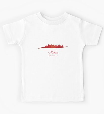 Makati skyline in red Kids Tee