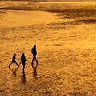 Family on the beach by Harald Walker