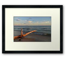 Evening Glow on Red Beach Framed Print
