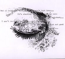 Pencil sketch eye with text by alicenbc