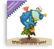 The Sloth Dragon Monster Comes to wish You Merry Christmas Canvas Print