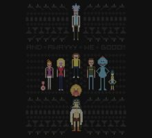 Rick and Morty Family Portrait DARK VERSION! One Piece - Short Sleeve