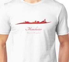 Manchester skyline in red Unisex T-Shirt