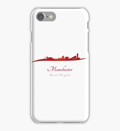 Manchester skyline in red iPhone Case/Skin