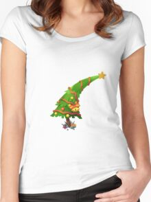 The Christmas Tree wishes You Merry Christmas Women's Fitted Scoop T-Shirt
