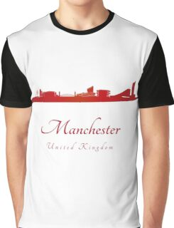 Manchester skyline in red Graphic T-Shirt