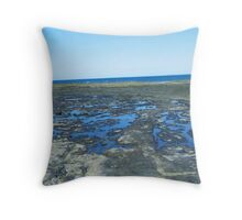 rockpools - blue Throw Pillow