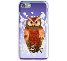 Bright Brown Owl-White Blooms iPhone Case/Skin