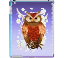 Bright Brown Owl-White Blooms iPad Case/Skin