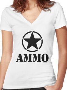 AMMO with Army Invasion Star Women's Fitted V-Neck T-Shirt