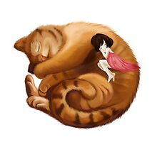 The Big Cat Sleeps into a Ball and the Little Girl Sleeps with him Together by smallartfish