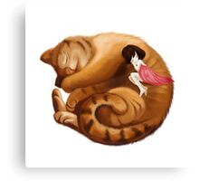 The Big Cat Sleeps into a Ball and the Little Girl Sleeps with him Together Canvas Print