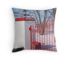 Calumet Gate in Snow Throw Pillow