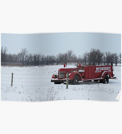 Red Truck on the Prairie... Poster