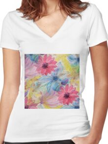 Watercolor hand paint floral design Women's Fitted V-Neck T-Shirt