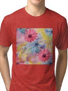 Watercolor hand paint floral design Tri-blend T-Shirt