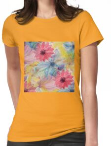 Watercolor hand paint floral design Womens Fitted T-Shirt
