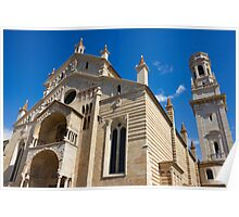 Verona Cathedral facade distant angle shot over blue sky Poster
