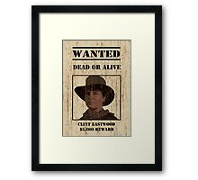 """Clint Eastwood"" wanted poster from Back to the Future 3 Framed Print"