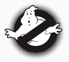 Original Ghostbusters Halftone Logo (in black and white) Kids Clothes