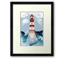 Lighthouse lights on over the unsteady sea Framed Print