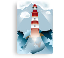 Lighthouse lights on over the unsteady sea Canvas Print