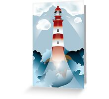 Lighthouse lights on over the unsteady sea Greeting Card