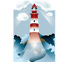 Lighthouse lights on over the unsteady sea Photographic Print