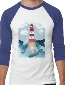 Lighthouse lights on over the unsteady sea Men's Baseball ¾ T-Shirt