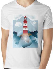 Lighthouse lights on over the unsteady sea Mens V-Neck T-Shirt