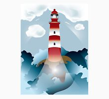 Lighthouse lights on over the unsteady sea T-Shirt