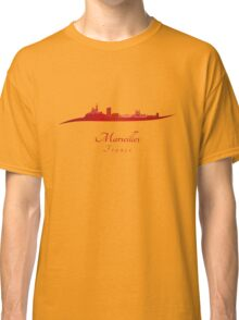 Marseilles skyline in red Classic T-Shirt