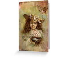 Girl with blue eggs Greeting Card