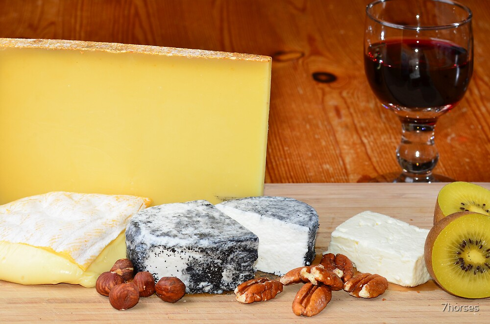 French cheese and red wine by 7horses