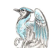 Mythological House Griffin: Blue Jay Variety by Stephanie Smith