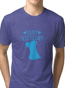 Crazy Scottie (Scottish dog) Lady Tri-blend T-Shirt