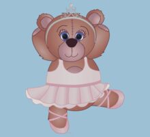 Cute Cartoon Teddy Bear Ballerina Kids Tee