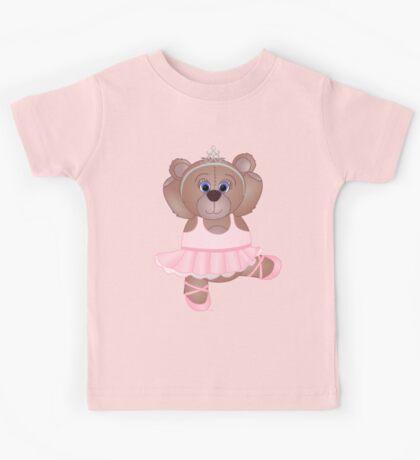 Cute Cartoon Teddy Bear Ballerina Kids Tee