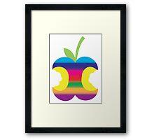 Rainbow half eaten apple Framed Print
