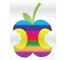 Rainbow half eaten apple Poster