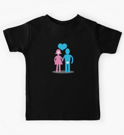 Couple Woman thinking with her head Man thins with his ... Kids Tee