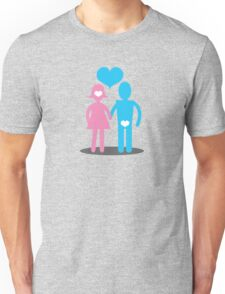 Couple Woman thinking with her head Man thins with his ... Unisex T-Shirt