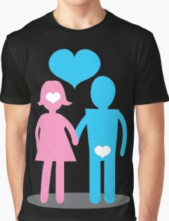 Couple Woman thinking with her head Man thins with his ... Graphic T-Shirt