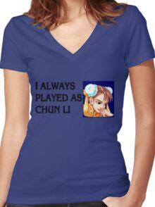 Street Fighter 2 Memories CHUN LI Women's Fitted V-Neck T-Shirt