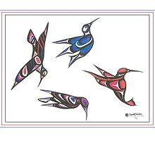 4 humming birds by Speakthunder