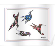 4 humming birds Poster