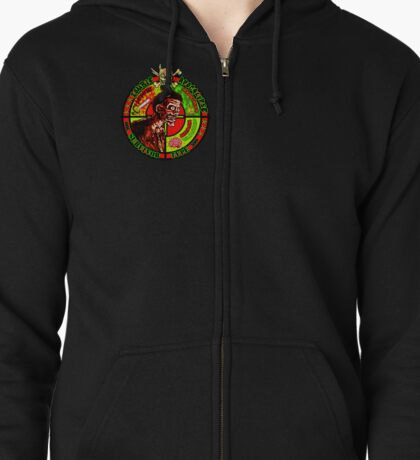 Zombie Apocalypse Survivor Type (Small Pic upr rt shoulder) Zipped Hoodie